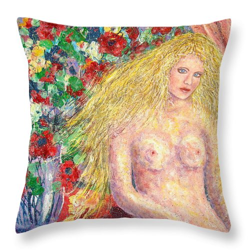 Nude Throw Pillow featuring the painting Nude Fantasy by Natalie Holland