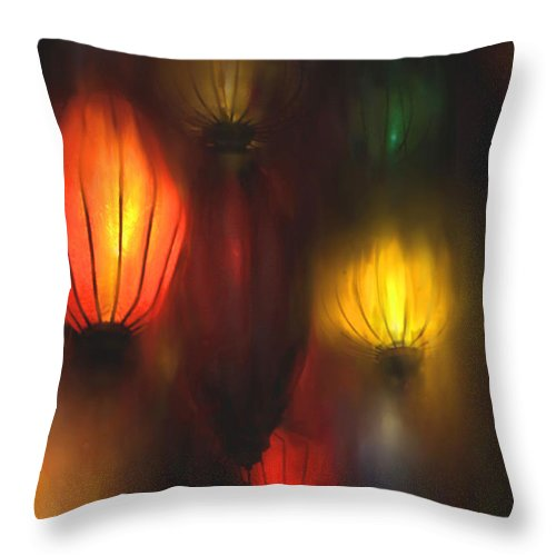 Lanterns Throw Pillow featuring the painting Orange Lantern by Stephen Lucas