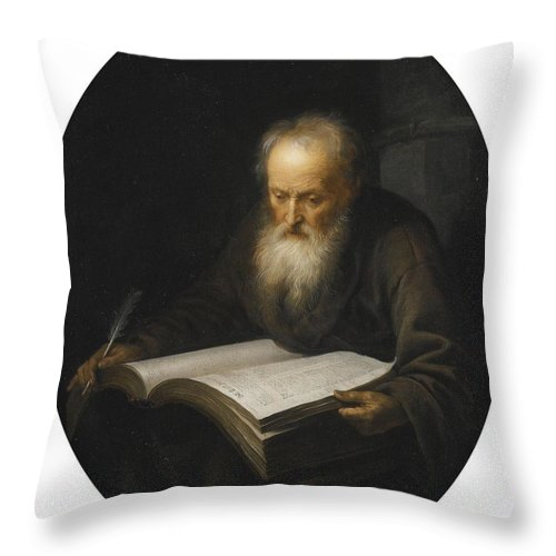 Gerrit Dou Throw Pillow featuring the painting Portrait Of A Scholar by MotionAge Designs