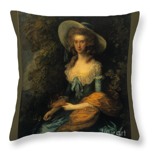 Thomas Gainsborough(1727-1788) Throw Pillow featuring the painting Portrait Of Miss Evans by MotionAge Designs