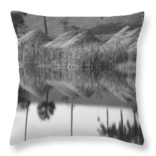 Pyrimids Throw Pillow featuring the photograph Pyrimids By The Lakeside Cache by Rob Hans