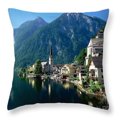 Riverfront Reflection Austria Throw Pillow featuring the photograph Riverfront Reflection Austria by Heinz G Mielke