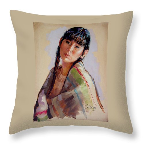 Sacajawea Throw Pillow featuring the painting Sacajawea  study by Jerrold Carton
