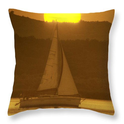 Sail Throw Pillow featuring the photograph Sailing Into The Sunset by Odon Czintos
