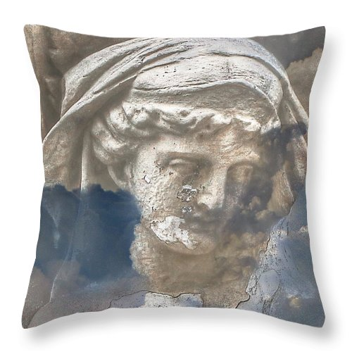 Sky Girl In Throw Pillow featuring the mixed media Sky Girl In by Yury Bashkin