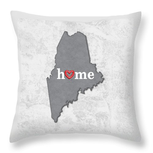 State Map Outline Maine With Heart In Home Throw Pillow For Sale By Elaine Plesser
