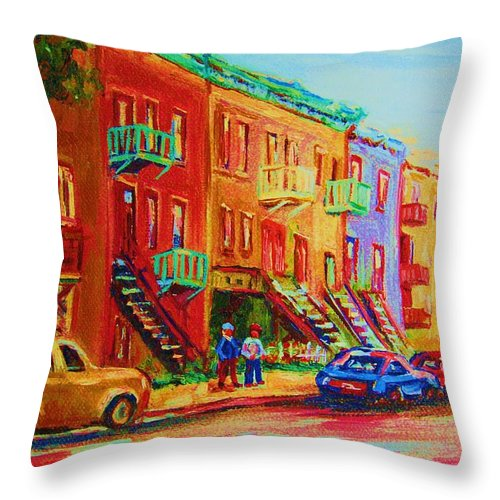Painted Houses Throw Pillow featuring the painting Summer In The City by Carole Spandau