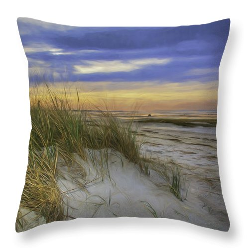 Coastal Scene Throw Pillow featuring the photograph Sunset Beach Dunes by Mary Clough
