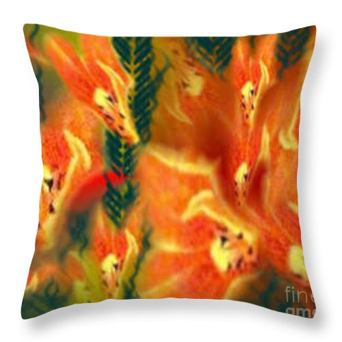 Florals Throw Pillow featuring the digital art Symphonic Dance by Brenda L Spencer
