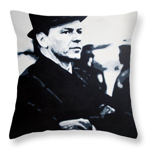 Frank Sinatra Throw Pillow featuring the painting - The Winter Wind - by Luis Ludzska
