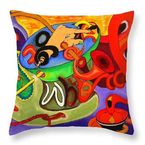 Time Throw Pillow featuring the painting Time Constraints by Helmut Rottler