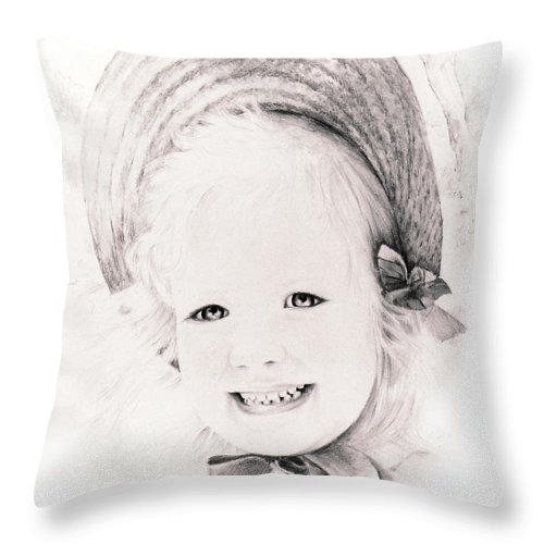Portrait Throw Pillow featuring the drawing  Trudy by Rachel Christine Nowicki