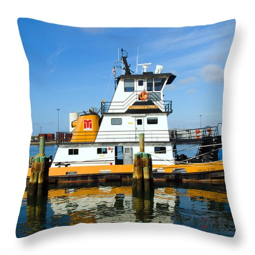 Florida; East; Space; Coast; Tug; Boat; Tugboat; Tow; Towboat; Pusher; Pushes; Push; Cargo; Fuel; Oi Throw Pillow featuring the photograph  Tug Indian River Is Part Of The Scene At Port Canvaeral Florida by Allan Hughes