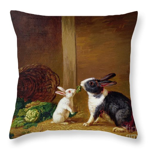 Two Throw Pillow featuring the painting Two Rabbits by H Baert