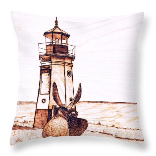 Lighthouse Throw Pillow featuring the pyrography Vermilion Lighthouse by Danette Smith