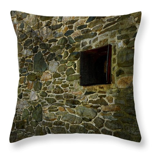 Vintage Stone Wall In Radnor Pa Throw Pillow featuring the photograph Vintage Stone Wall In Radnor Pa by Heinz G Mielke