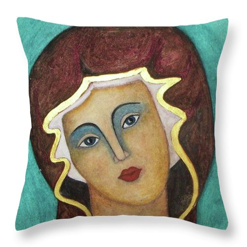 Virgin Mary Throw Pillow featuring the painting Virgin Mary by Vesna Antic
