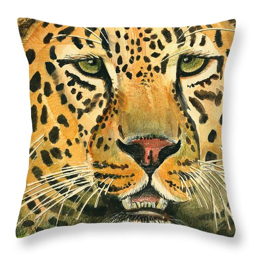 Leopard Throw Pillow featuring the painting Waiting For Prey by Arline Wagner