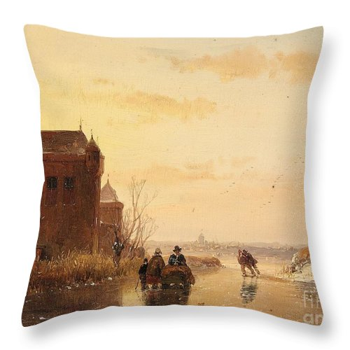 Andreas Schelfhout Throw Pillow featuring the painting Winter Landscape With A Fort by Celestial Images