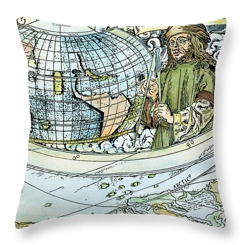 1507 Throw Pillow featuring the painting Amerigo Vespucci (1454-1512) by Granger