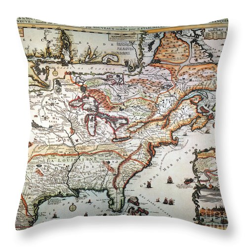1719 Throw Pillow featuring the painting New France, 1719 by Granger