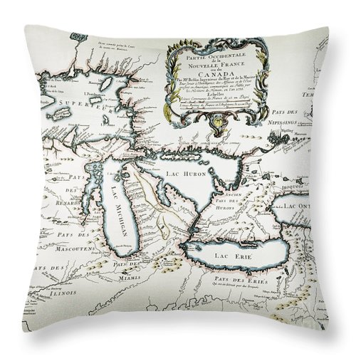 1755 Throw Pillow featuring the painting Great Lakes Map, 1755 by Granger
