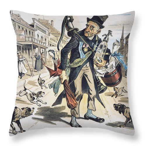 1889 Throw Pillow featuring the painting Prohibition Cartoon, 1889 by Granger