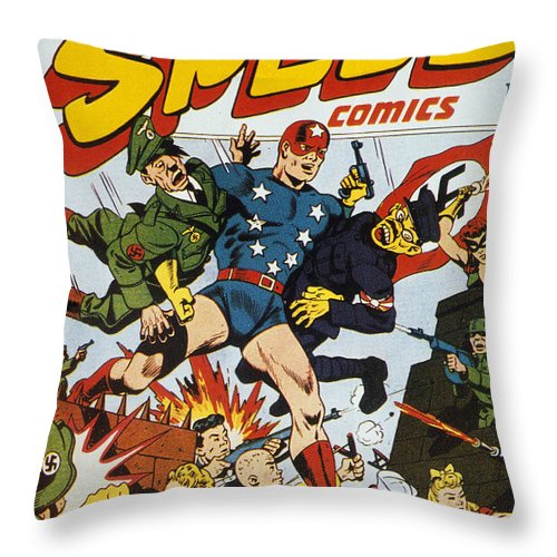 1943 Throw Pillow featuring the painting World War II: Comic Book by Granger