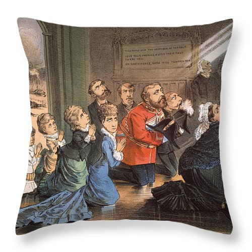 1882 Throw Pillow featuring the painting British Imperialism, 1882 by Granger