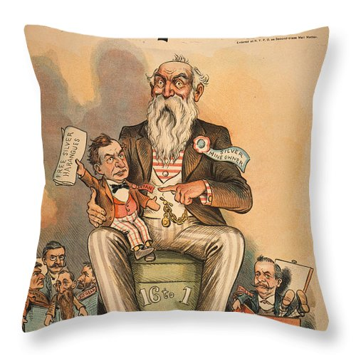 1896 Throw Pillow featuring the painting William Jennings Bryan by Granger