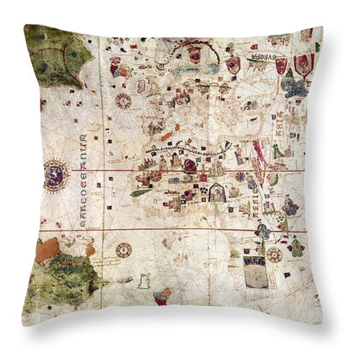 1500 Throw Pillow featuring the painting Nina: World Map, 1500 by Granger