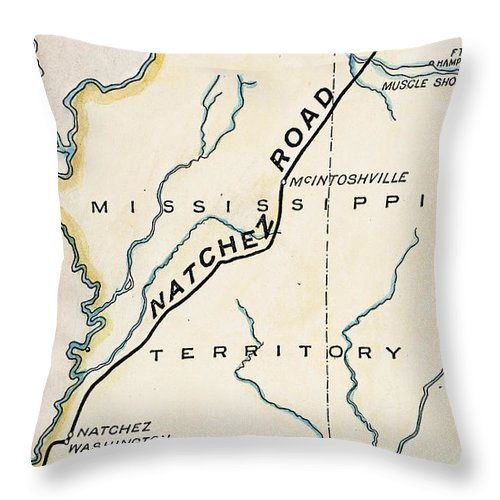 1816 Throw Pillow featuring the painting Natchez Trace, 1816 by Granger
