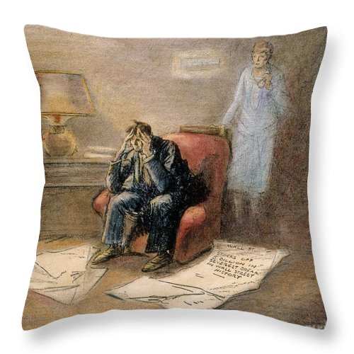 1929 Throw Pillow featuring the painting Stock Market Cartoon by Granger