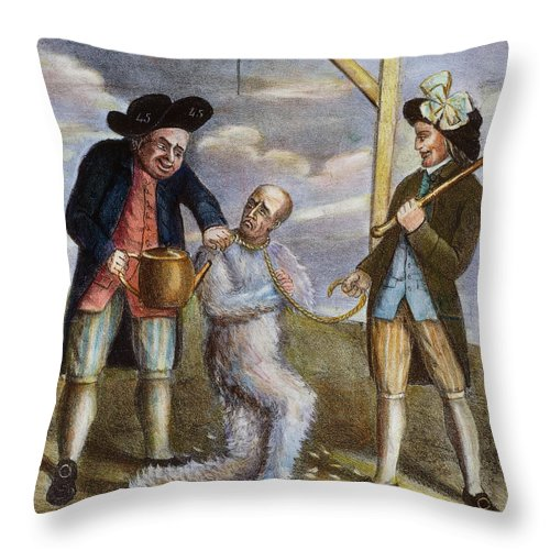 1774 Throw Pillow featuring the painting Tarring & Feathering, 1774 by Granger