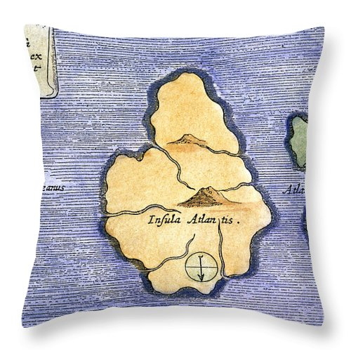 1678 Throw Pillow featuring the painting Map Of Atlantis, 1678 by Granger