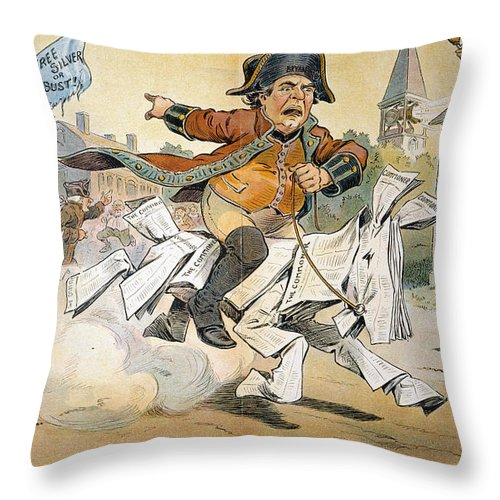 1904 Throw Pillow featuring the painting Populist Party Cartoon by Granger