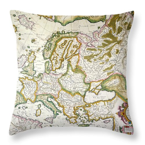 1623 Throw Pillow featuring the painting Map Of Europe, 1623 by Granger