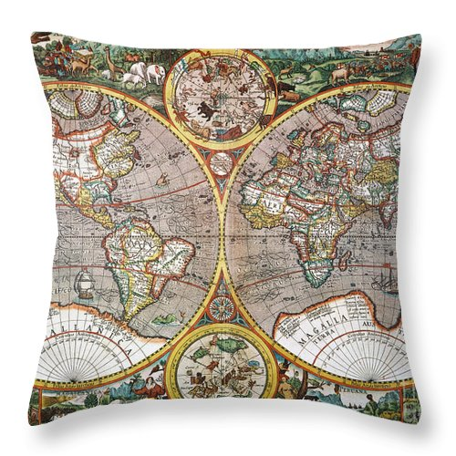 1594 Throw Pillow featuring the painting World Map, 1607 by Granger