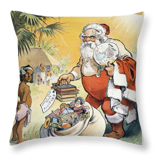 1902 Throw Pillow featuring the painting Philippine Cartoon, 1902 by Granger