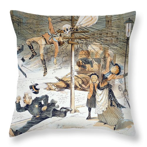 1889 Throw Pillow featuring the painting Electricity Cartoon, 1889 by Granger