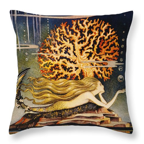 1932 Throw Pillow featuring the painting Andersen: Little Mermaid by Granger