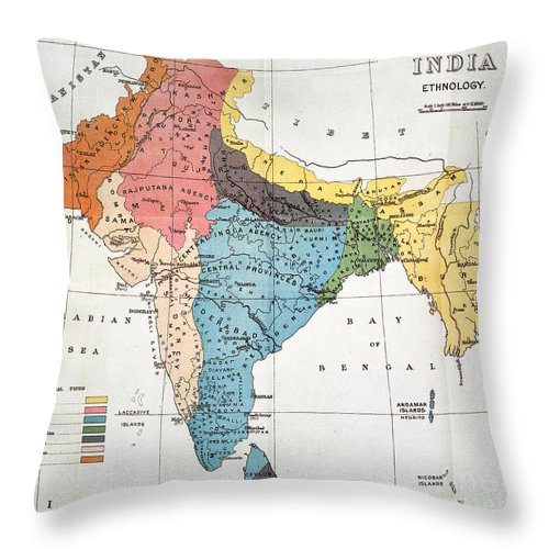 Aod Throw Pillow featuring the painting India: Map, 19th Century by Granger