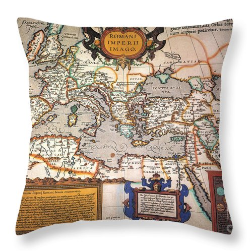 1595 Throw Pillow featuring the painting Map Of The Roman Empire by Granger