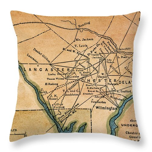 19th Century Throw Pillow featuring the painting Underground Railroad Map by Granger