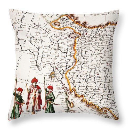 1662 Throw Pillow featuring the painting Mesopotamia, 1662 by Granger