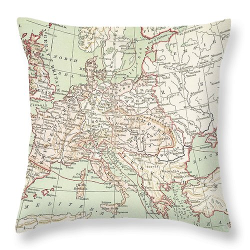 1810s Throw Pillow featuring the painting Map Of Europe, C1812 by Granger