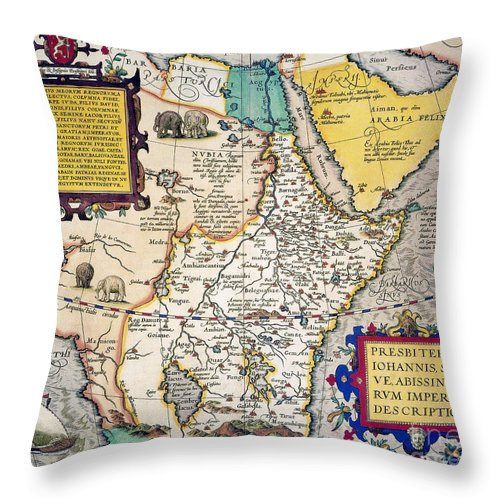 1595 Throw Pillow featuring the painting African Map, 1595 by Granger
