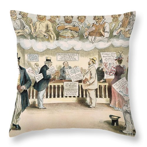 1894 Throw Pillow featuring the painting Foolish Forefathers, 1894 by Granger