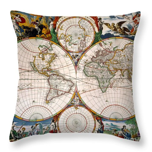 Aod Throw Pillow featuring the painting World Map, 17th Century by Granger