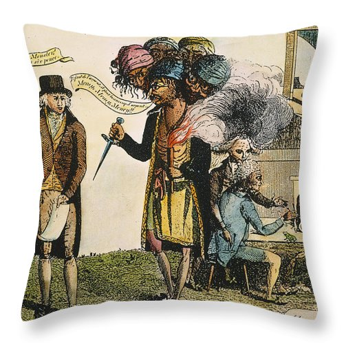 1798 Throw Pillow featuring the painting Cartoon: French War, 1798 by Granger